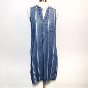 Cloth & Stone Stripe Blue Chambray Shirt Dress